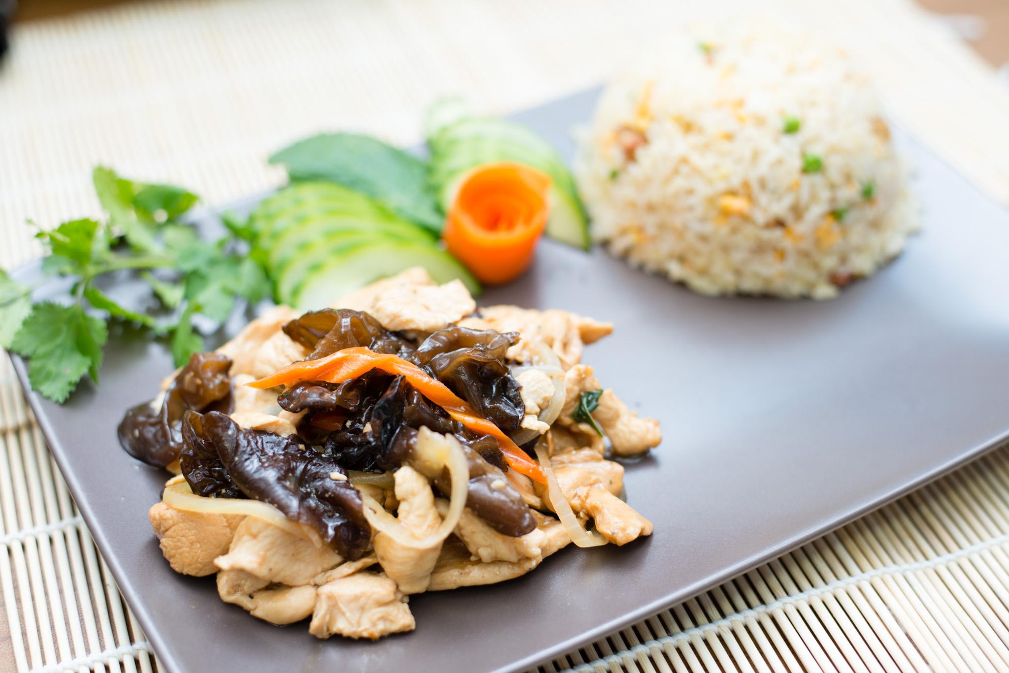 Poulet champignon noir